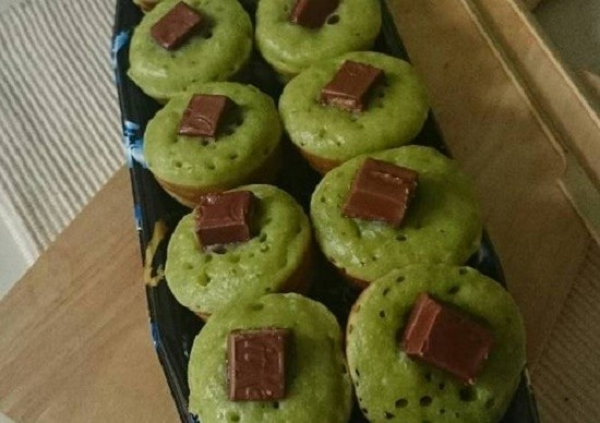 Resep kue cubit green tea kitkat